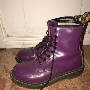 Purple Dr. Marten lace-up boots